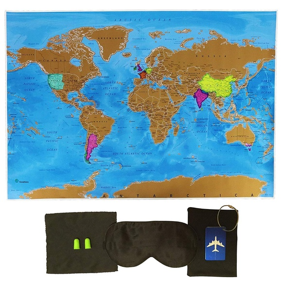Scratch Off World Map Poster - Travel Gift NWT